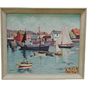 SALE Rockport Massachusetts Oil on Board Painting Harbor Fishing Sailing Boating Summer Scene