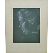 SALE B & W Portrait of Woman Pastel or Crayon Signed K. Bryan