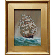 SALE Oil on Wood Clipper Tall Ship Full Sail Painting Signed (Lawrence) Forbes Wolfe Nautical