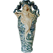 SALE LARGE Royal Dux Goddess Vase Victorian Art Nouveau Lusterware Luster Ware Bohemia Antique