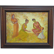 SALE Three Women Mother w/ Child Acrylic Painting on Board Spiritual Signed Ada Rayner (Hensch