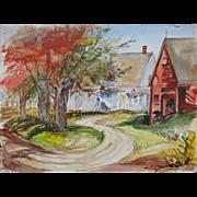 SALE 2 Watercolor Paintings Landscape w/ House & Barn & Still Life Crock w/ Flowers