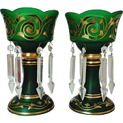 SALE Pair of Art Nouveau Deco Bohemian Mantle Lusters Green & Gold Crystal Glass w/ Spear ...