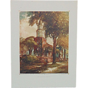 SALE Vintage Color Etching Bruton Parish Church Williamsburg Hand Signed Al Mettel