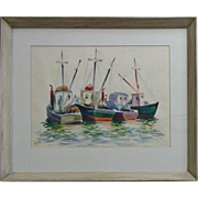 SALE Framed Watercolor Painting Wellfleet Harbor Fishing Boats Signed (Charles) De Carlo