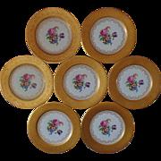 SALE Set of 7 T & V French Limoges Dinner Cabinet Plates w/ Roses & 22k Gold ...