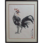 SALE Modern Japanese Watercolor Rooster Painting Signed