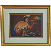 SALE Native American Indian & Bird Oil Painting Signed Helen S