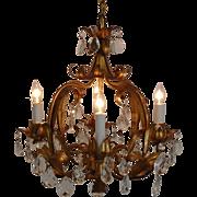 SALE Vintage Italian Tole Chandelier Gilt Metal w/ Elegant Prisms Lusters Lustres Light Fixtur