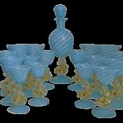 SALE Murano Venetian Glass Decanter & 16 Glasses Wine Champagne Brandy Cordial Gold Flecked ..