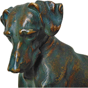 SALE Vintage Dog Bronze Sculpture Statue on Marble