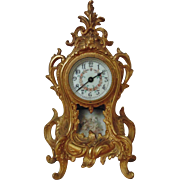 SOLD Antique 19c Waterbury Shelf Clock Porcelain Dial Movement Beveled Glass Brass Rococo Styl