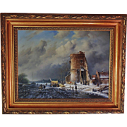 SALE Holland Dutch Landscape Oil Painting Signed Ross Steffan Winter Scene in Gilt Wood Frame