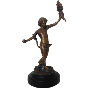 SALE Vintage Bronze Child With Torch Statue Sculpture