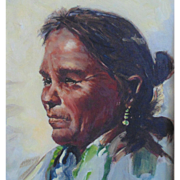 SALE Navajo Native American Indian Woman Portrait Oil Painting Signed J. Pinel