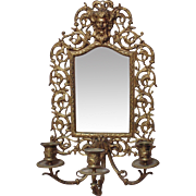 19c Antique Wall Beveled Mirror Candle Holder Sconce Brass North Wind Victorian Candelabra Can
