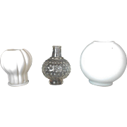 SALE 3 Miniature Oil Kerosene Glass Lamp Shades Shade Parts