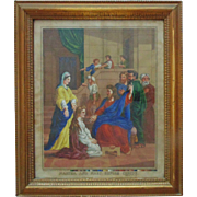 SALE Antique German Print Jesus Mary & Martha in Wood Frame Religious