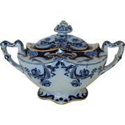 SALE Antique Royal Staffordshire Iris Sugar Bowl Flow Blue Art Nouveau Burslem England English