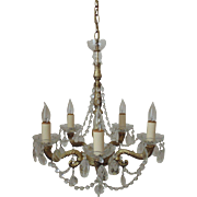 SALE Vintage Chandelier Gilt Metal & Crystal Beaded Swags & Teardrop Prisms Lusters