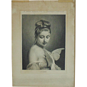 Antique 19c French Victorian Engraving Woman with Dove Bird Colombe