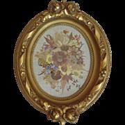 SALE Vintage Picture Frame Gold w/ Roses Floral Gilt & Dried Flower Arrangement for Painting .