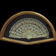 Vintage Fan Frame Gilt Gold Flowers Floral  w/ Hand-Painted Lace Fan