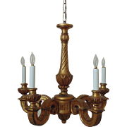 Italian Gilt Wood Chandelier 4 Lights Vintage Fixture Italy