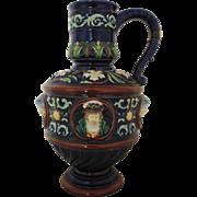 RARE Johann Maresch Majolica LARGE Jug Vessel Pitcher w/ Faces Bohemia Pottery Aesthetic ...