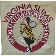 LARGE Vintage Virginia Slims Cigarettes Tennis Advertising Sign Womens World Championship ...