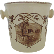 Antique Staffordshire Chamber Pot Pail w/ Cover Brown Transferware Aesthetic Eastlake J F ...