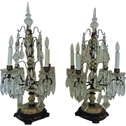 Pair French Candelabra Lamps Art Deco Bronze & Onyx France Vintage Dripping Crystal Glass ...