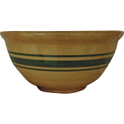 """Rare 19c Antique Yellow Ware Bowl 3 Green Stripes Bands 7.5"""""""