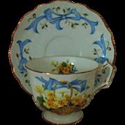 Aynsley April Primrose Tea Cup & Saucer England English Fine Bone China
