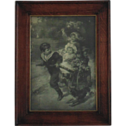 19c Antique Victorian Print w/ Oak Wood Frame Children & Dog Black and White Signed Fred ...