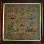 SALE LARGE Antique Victorian Sampler c. 1852 Needlepoint MUSEUM QUALITY Martha Wilkinson Aged