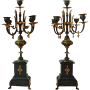 SALE Pair French Brass & Marble Candelabras Louis XV Style Ebonized Candle Holders Regency