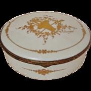 SALE 19c French Victorian Limoges Trinket Jewelry Box Antique Porcelain Gold Enameling Signed