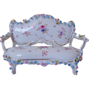 SALE Miniature Doll House Furniture Sofa Settee w/ Roses Antique German Porcelain Victorian Fl