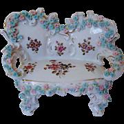 SALE Miniature Doll House Furniture Sofa Settee w/ Roses Antique German Porcelain Victorian ..