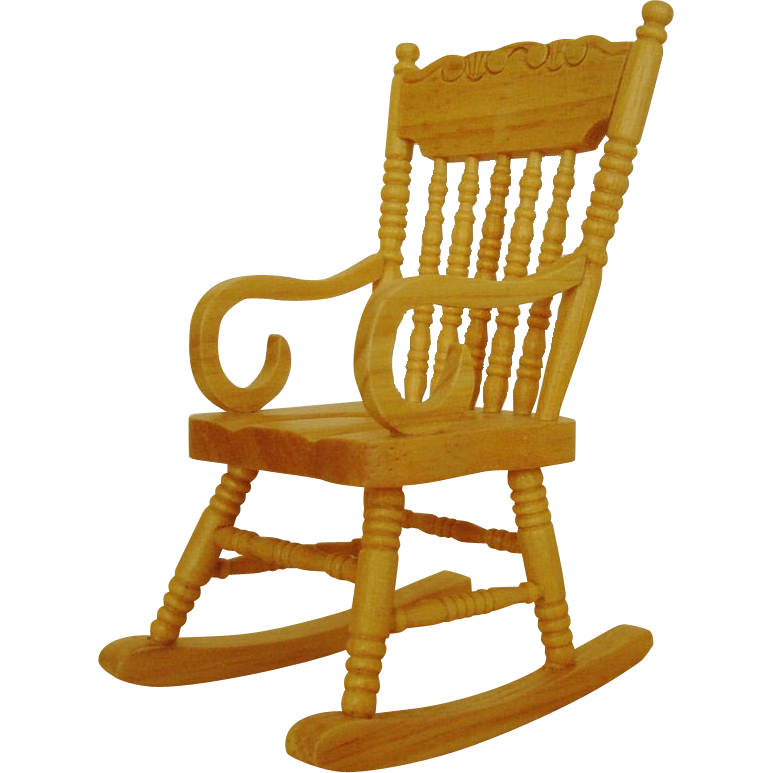 Miniature Rocking Chair Dollhouse Wood Furniture Rocker