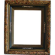 SALE Antique Wood Picture Frame 19c Victorian Eastlake Aesthetic Ebonized Marbelized Incised