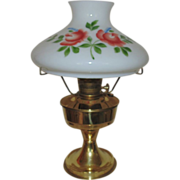 SALE #23 Aladdin Brass Lamp Oil Kerosene w/ Hand-Painted Roses Glass Shade
