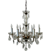 SALE Italian Chandelier Crystal Glass 6 Light w/ Prisms Fixture Italy