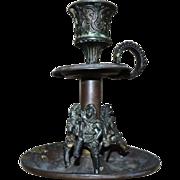 SOLD Antique 19c Brass Candlestick Figural Candle Holder