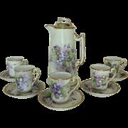 SALE Antique 19c Victorian Tea / Chocolate Set French Limoges T & V Hand-Painted Violets .