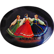 SALE Russian Lacquer Jewelry Trinket Box Dancers Hand-Painted Artist Signed