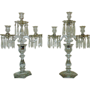 SALE Pair 19c Antique Victorian Candelabra Glass Candle Holders w/ Prisms Lustres Lusters