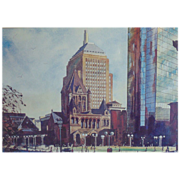SALE Watercolor Painting Copley Square Boston Trinity Church & Hancock Buildings Massachus