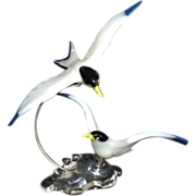 SALE Pino Signoretto Sculpture Art Glass Italian Murano Venetian Pair of Flying Birds Terns Se